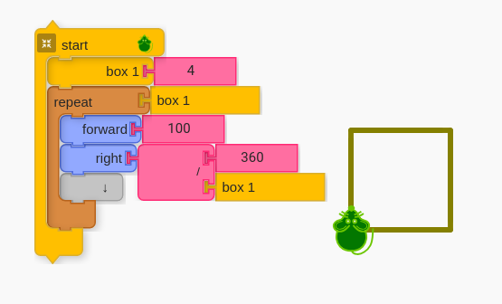 Code for a square using box block