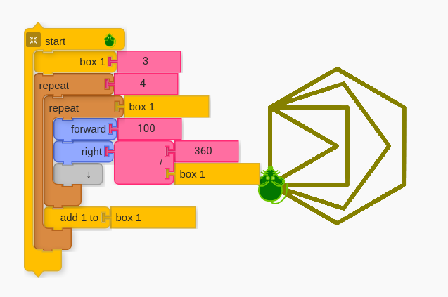 A code snippet that generates 4 different shapes.