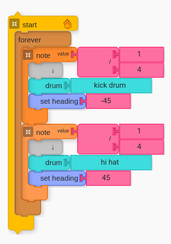 Two Note Value blocks with Set Heading set to `-45` and `45`.