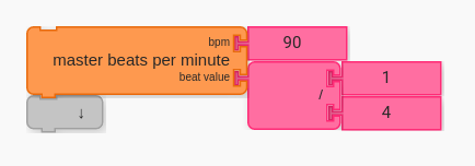 Master Beats per Minute Block set to 90 BPM for the quarter note.