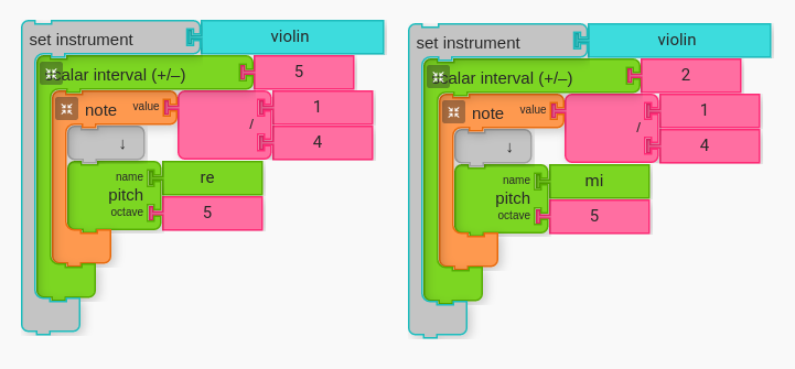 Thirds and Sixths from Pitches other than Do in Music Blocks.
