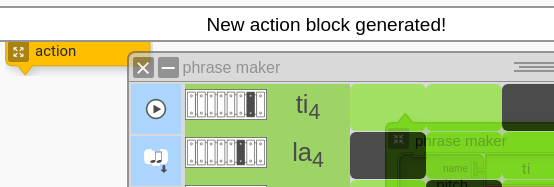Generating a new Action Block from Phrase Maker with Music Blocks